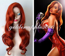 Jessica Rabbit Cos Prop Hairpiece Long Wavy Copper Red Cosplay Wig  Curly Hair