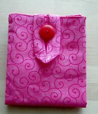 Tea Bag holder made of pink with swirls fabric