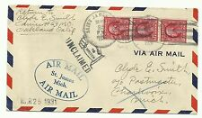 411 coil pair of 3 on cover UNCLAIMED AIR MAIL St James Mich.