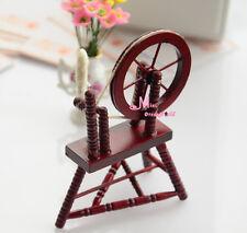 Vintage WOOD RED Spinning Wheel  1:12 Dollhouse Miniature