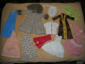 VINTAGE BARBIE DOLL CLOTHING LOT, ORIGINAL & HANDMADE 1960-70, COAT, DRESSES, +