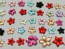 1000 Assorted Acrylic Flatback Faceted Flower Star Windmill Rhinestone Gems 6mm