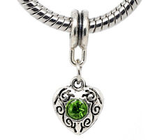 Green Rhinestone August Birthstone Heart Dangle Bead for European Charm Bracelet