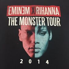 Eminem Rihanna Black Small T-Shirt Tour 2014 Rap Hip Hop Real Slim Shady Detroit