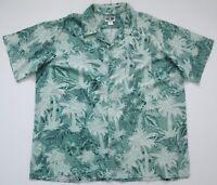 "Vintage 70s Haband-Bermuda Casuals Hawaiian Palm Trees Shirt 56""-142.5cm 2XL"
