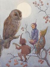 Postcard: Vintage print repro - Owl Singing with Elves (or Pixies)
