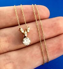 Vintage 18k Yellow Gold Diamond Pendant Necklace .80tw