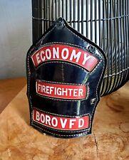 Vintage Cairns Leather Fire Helmet Front shield - Economy Borough Pennsylvania