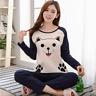 Women Lady Pajama Set Cotton Smiley Cat Sleepwear Spring Long Sleeve Nightwear
