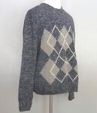 Gran Sasso Men's Sweater, Size 2XB, Wool Cashmere Italian, Grays Blues