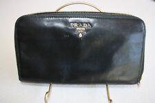 PRADA Soft Leather Zip-Around Wallet Black