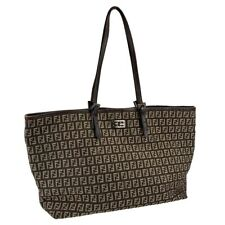 FENDI Zucchini Fabric Leather Brown Beige Tote Shoulder bag Authentic