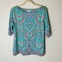 Charter Club Women's Top Size Large Short Sleeves Paisley Casual Work Blue Green