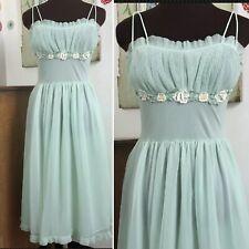 Vtg Vanity Fair Lingerie, 1950s Mint Green Chiffon Nightgown w Flower Appliques