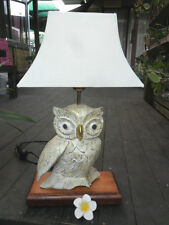 Carved Wooden Owl Feature Lamp  (one only)