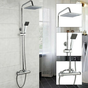 Bathroom Square Chrome Twin Head Exposed Valve Thermostatic Mixer Shower Set