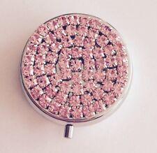 ~Pink Sparkle~ Premium Quality Crystal Rhinestone~ Round Fancy Pill Box Case