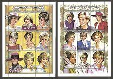 Sénégal 1998 Royalty Diana Portraits paire de M/feuilles neuf sans charnière