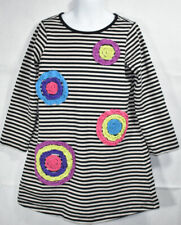 Girls BOUTIQUE HANNA ANDERSSON BLACK GRAY STRIPED Floral L/S DRESS Sz 120 6 7yrs
