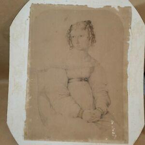 ca.1840 VINCENZO HYZLER (Nazereni Movement) Portrait of Theresa Portelli. Malta