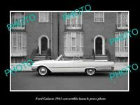 OLD 8x6 HISTORIC PHOTO OF 1961 FORD GALAXIE CONVERTIBLE LAUNCH PRESS PHOTO