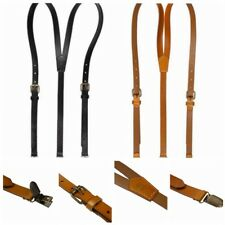 Men Women Adjustable Genuine Leather Y-shaped Suspenders with Metal Clips