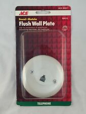 ACE HARDWARE ACE 36207 TELEPHONE ROUND MODULAR FLUSH WALL PLATE IN WHITE-NEW!