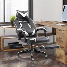 Bürostuhl mit Fußstütze Sportsitz Drehstuhl Chefsessel Kissen Kunstleder Weiß