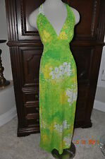 Vintage 70's CATALINA Halter Maxi DRess swimsuit cover resort wear Neon Tropical
