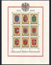 Austria 1976 Shields/Coats-of-Arms/Heraldry/Eagles/Lions/Birds 9v sht (n33765)