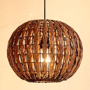 Round Rattan Balcony Ceiling Pendant Lamp Dining Room Lights Fixture Chandelier