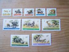 TANZANIA ANIMALS INCL TOP VALUE,10 VALS U/MINT.
