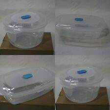 Set of 2 Freezer To Microwave Food Storage Tub Containers - Rectangle and Round