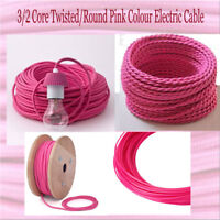 Braided 2/3Core Twisted 3 Core Round Rose Pink Flex Vintage Cable Size 0.75mm UK