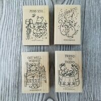1999 Stampin Up MICE MESSAGES 4pc Set Friends Get Well Celebrate Miss You RARE