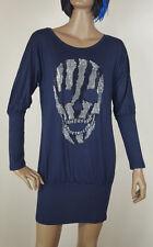 Skull Langarm Shirt Minikleid ein Abseloutes Must Have Straß Long Lang Totenkopf