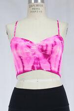 New Free People Womens Neon Pink Tie Dye Seamless Ribbed V Neck Bralette Bra $28