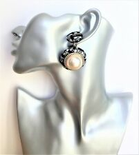 Retro grey check and chunky large faux pearl button style dangle drop earrings