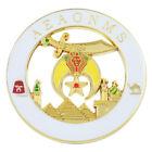 Shriner AEAONMS Masonic Auto Emblem - [White & Gold][3'' Diameter]