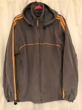 Men's North Bay Size Medium Hooded Gray Yellow Striped Windbreaker Jacket