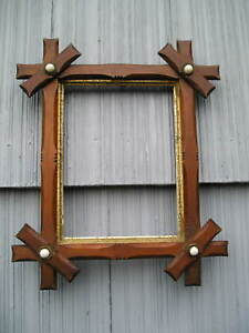 Antique Victorian Black Forest Adirondack Porcelain Dot Corner Picture Frame 6~8