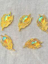 5 Faceted Acrylic Flat Back Feather Shape Imitation Of Rhinestone Embellishment