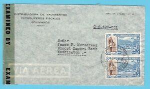 BOLIVIA censor airmail cover 1945 La Paz to USA