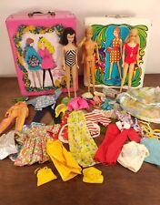 Vtg. 60s Barbie lot Mod Doll Case and Clothing Black Label Twist & Turn Some Tlc
