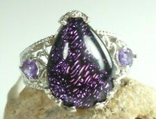 Karis Collection Tear Drop Amethyst Ring .925 Sterling Silver Sz 8 NOS