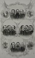 Antique US Civil War Union Generals Military Art Engraving 1866 Original