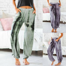 Womens Loose Yoga Dance Harem Pants Ladies Summer Tie Dye Print Palazzo Trousers