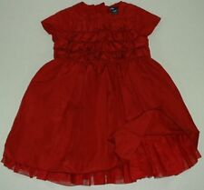 Baby Gap Red Short Sleeve Lined Holiday Party Dress Tuxedo Tucks 2Y
