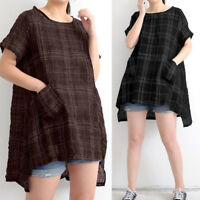 ZANZEA Women Summer T-Shirt Plaid Check Shirt Tops Asymmetrical Blouse Plus Size