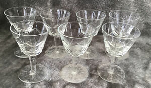Lovely Vintage Set Of 7 Cut Glass Sherry Liquer Glasses 95mm Immaculate